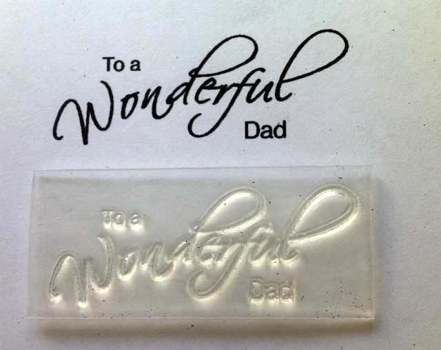 To my Wonderful Dad, script stamp