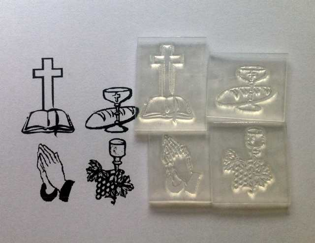 Religious symbols set of 4 small stamps