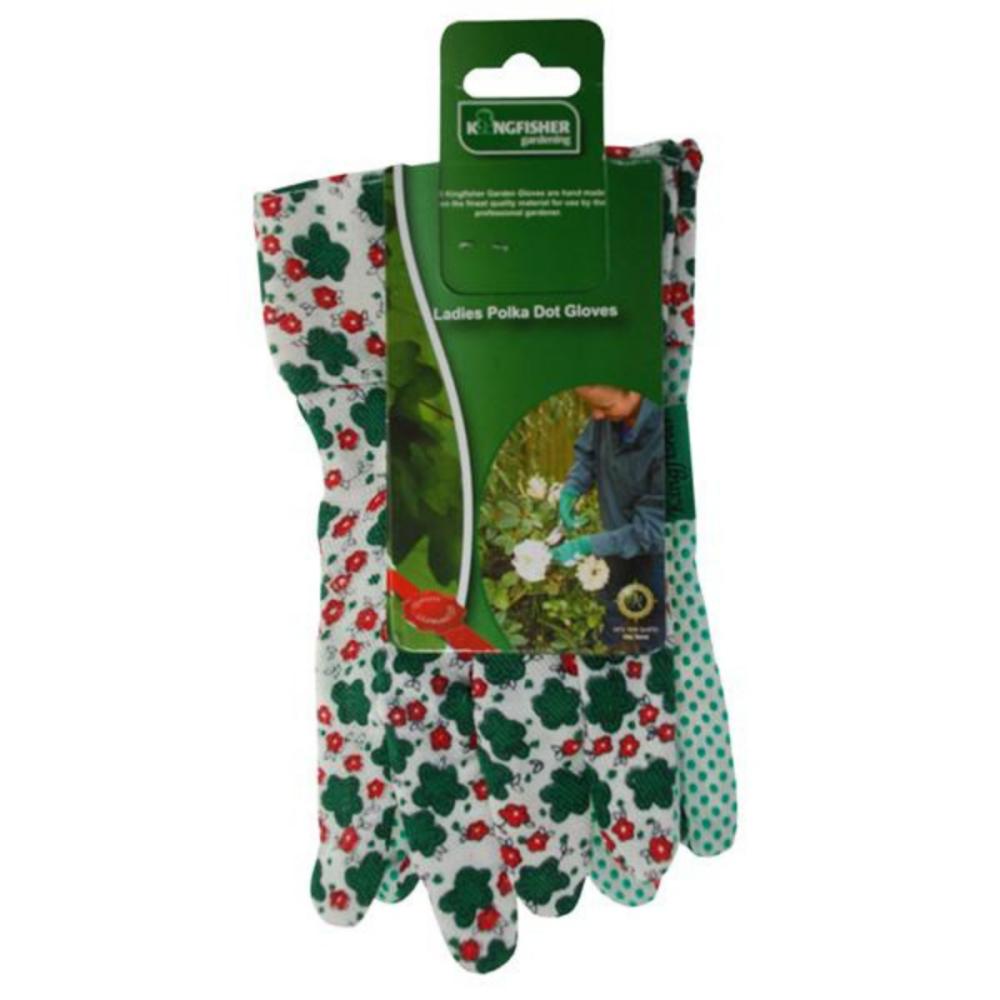 Ladies Floral Pattern Polka Dot Gloves