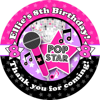 Popstar Birthday party personalised bags stickers 1x A4 sheet
