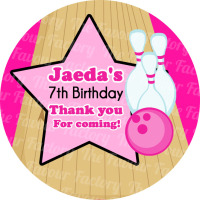 Bowling Girls Personalised Birthday party bags stickers sweet cones labels