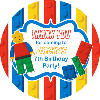 Lego Inspired Birthday party personalised bags stickers 1x A4 sheet
