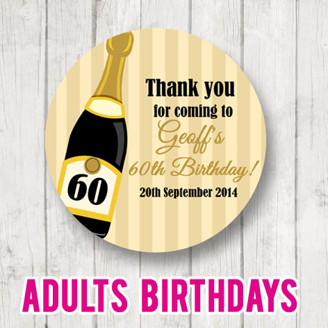 Personalised Adult Birthday Party Stickers labels