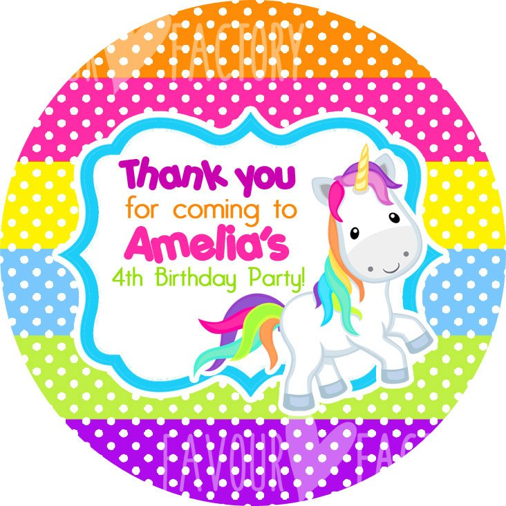 Rainbow Polka Dots Unicorn Personalised Birthday Stickers