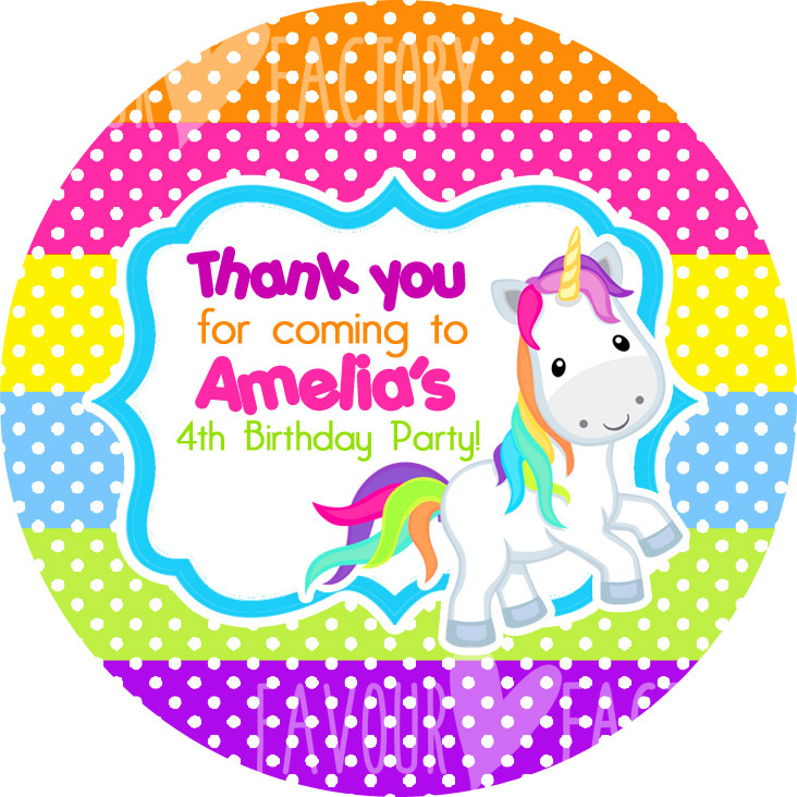 Rainbow Polka Dots Unicorn Birthday party personalised bags stickers 1x A4