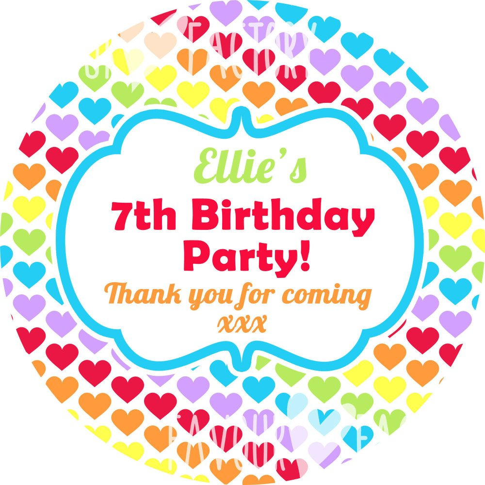 Rainbow Brights Hearts Personalised Party Bags Sweet Cones Stickers