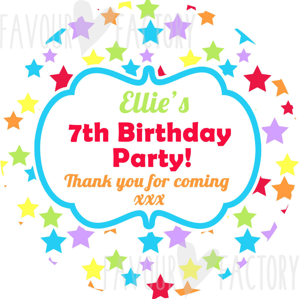 Rainbow Brights Stars Personalised Birthday party bags sweet cone stickers labels