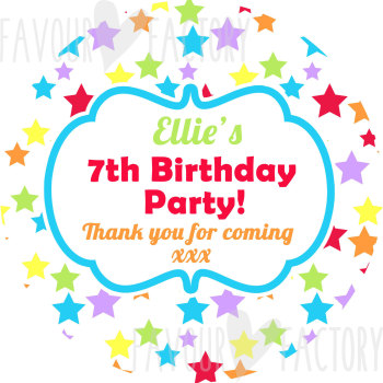 Rainbow Brights Stars personalised Party Bags Sweet Cones Stickers