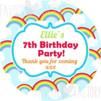 Rainbows Bright personalised Party Bags Sweet Cones Stickers