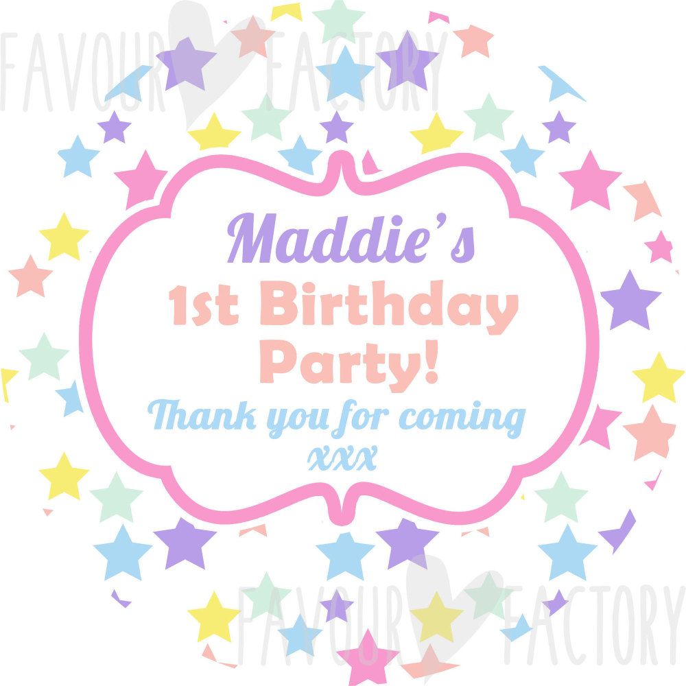 Pastel Rainbow stars Personalised Party Bags Sweet Cones Stickers Labels