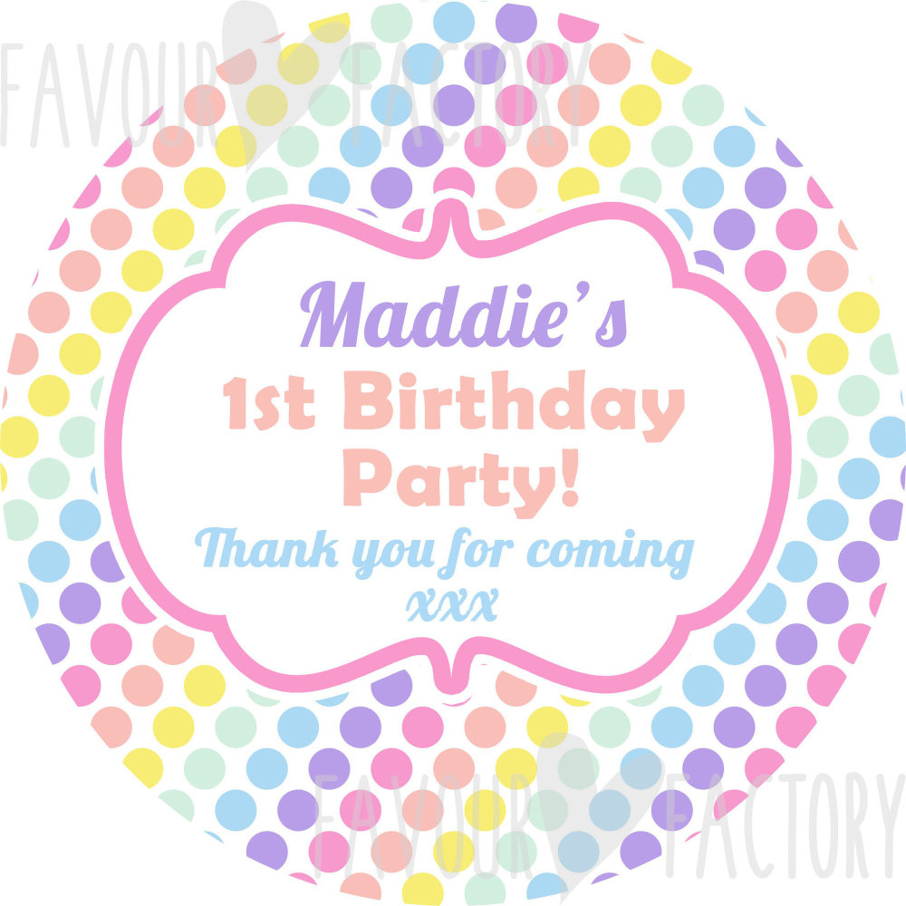 Pastel Rainbow polka dots Personalised Party Bags Sweet Cones Stickers Labels