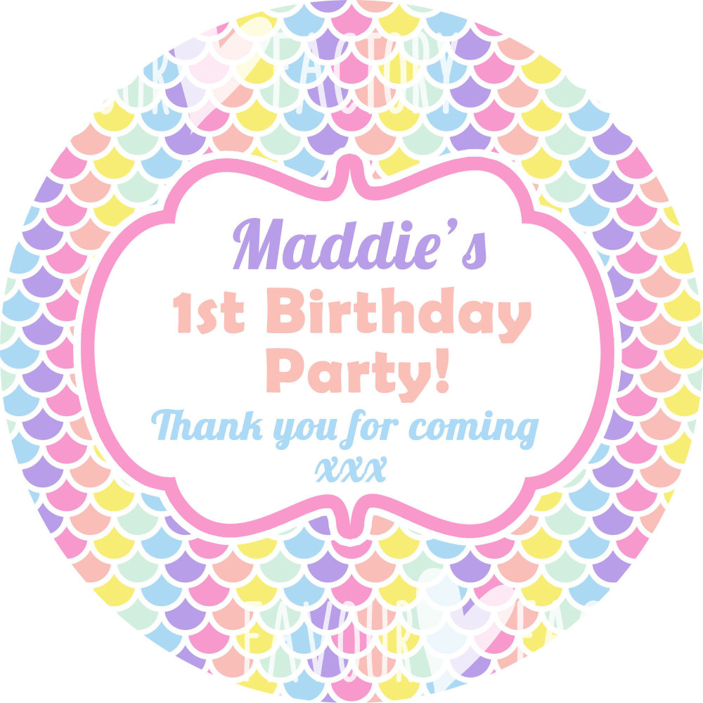 Pastel Rainbow Mermaid Scales Personalised Birthday Stickers