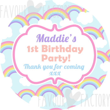 Pastel Rainbows Personalised Party Bags Sweet Cones Stickers Labels