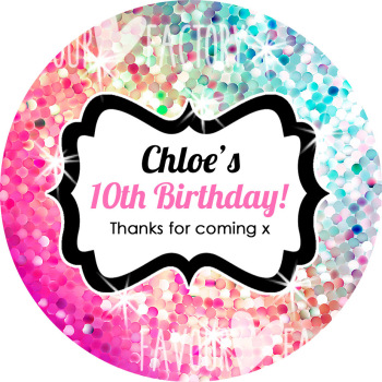 Glitter Rainbow Pinks to Aqua Personalised Birthday Party Stickers Labels