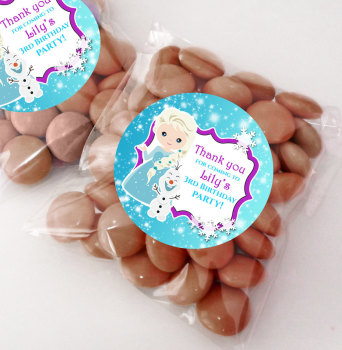 A Frozen Snow Princess Personalised BIRTHDAY PARTY sweet bag favours KITS x12