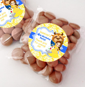 Beauty & the Beast Belle Personalised BIRTHDAY PARTY sweet bag favours KITS x12