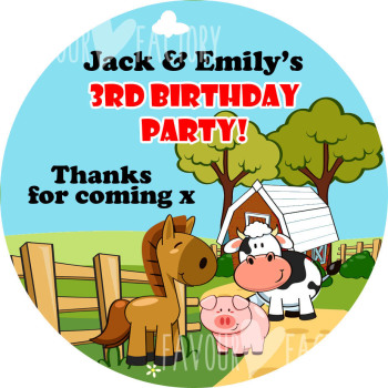 Farm Friends Personalised Birthday party bags sweet cone stickers labels