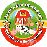 Farmyard Animals Personalised Birthday party bags sweet cone stickers labels