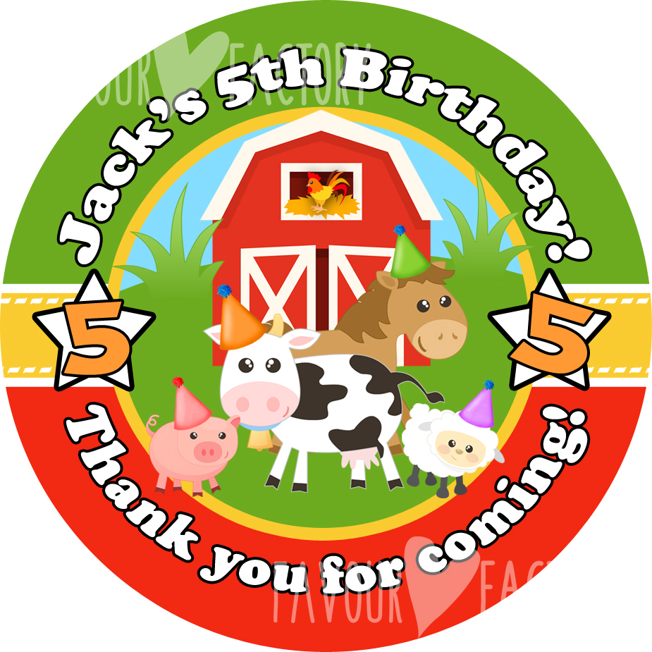 Farmyard Animals Birthday party personalised bags stickers 1x A4 sheet