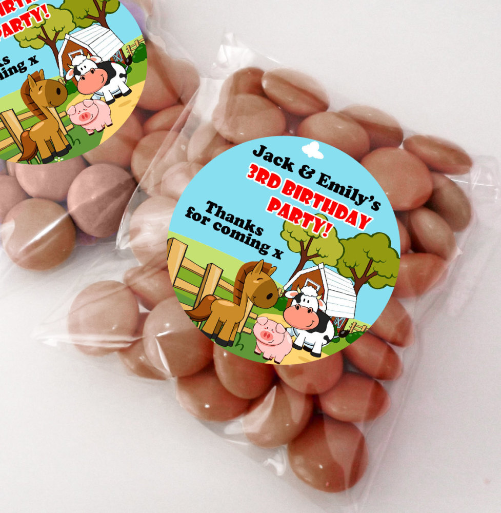 Farm Friends Personalised BIRTHDAY PARTY sweet bag favours KITS x12