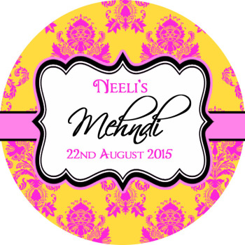 Mehndi Ornate Print Weddings Personalised Favour Stickers