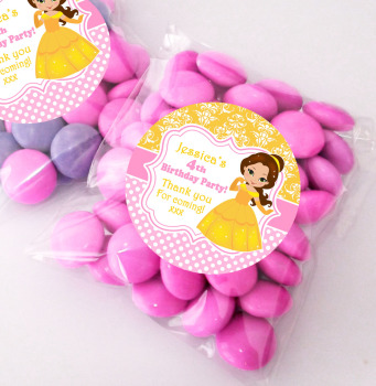 Princess Belle Personalised BIRTHDAY PARTY sweet Treat bags favours KITS x12