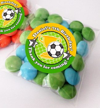 Football Personalised BIRTHDAY PARTY sweet Treat bags favours KITS x12