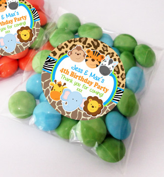 Wild Animals Personalised BIRTHDAY PARTY sweet Treat bags favours KITS x12