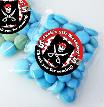 Pirate Personalised BIRTHDAY PARTY sweet Treat bags favours KITS x12