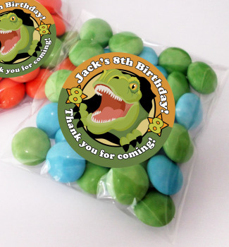 Scary Dinosaur Personalised BIRTHDAY PARTY sweet Treat bags favours KITS x12