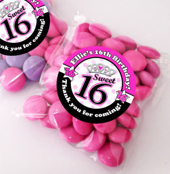Sweet 16 Personalised BIRTHDAY PARTY sweet Treat bags favours KITS x12