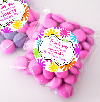 Funky flowers Personalised BIRTHDAY PARTY sweet Treat bags favours KITS x12