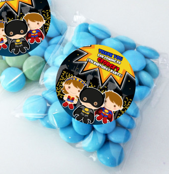 Superheroes Personalised BIRTHDAY PARTY sweet Treat bags favours KITS x12