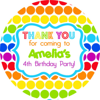 Rainbow Polka Dots Personalised Party Bags Sweet Cones Stickers