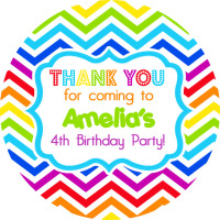 Rainbow Brights Zig Zags Personalised Party Bags Sweet Cone Stickers