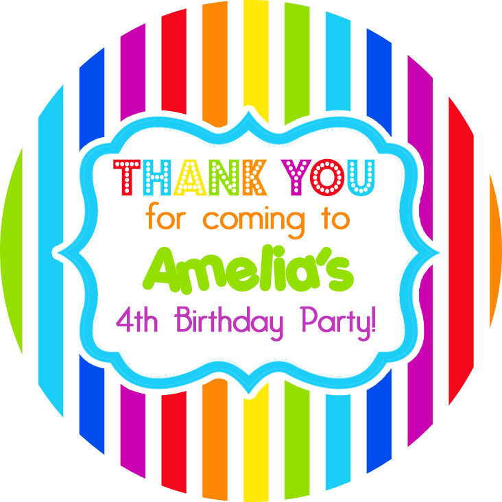 Rainbow Stripes Personalised Party Bags Sweet Cones Stickers Labels