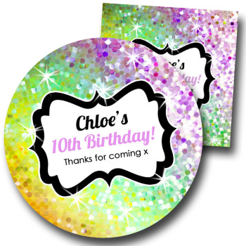 Glitter Rainbow Yellows to purples Personalised Birthday Party Stickers Labels