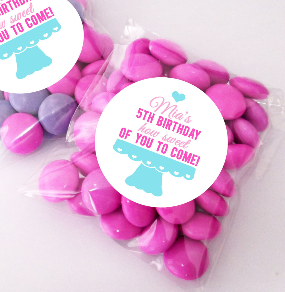 Cake stand Personalised BIRTHDAY PARTY sweet Treat bags favours KITS x12