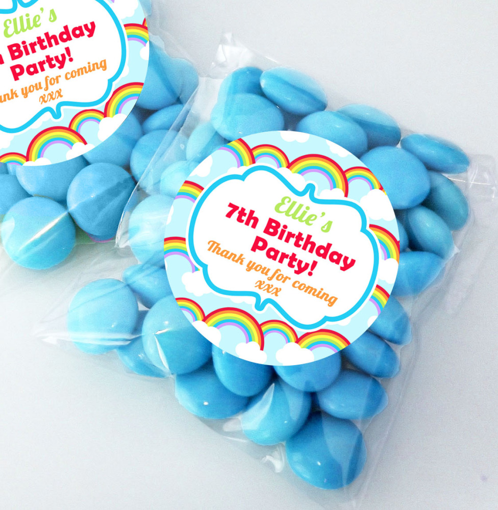 Bright Rainbows Personalised BIRTHDAY PARTY sweet bag favours KITS x12