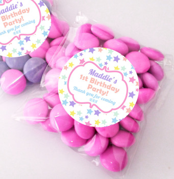 Pastel Rainbows stars Personalised BIRTHDAY PARTY sweet bag favours KITS x12