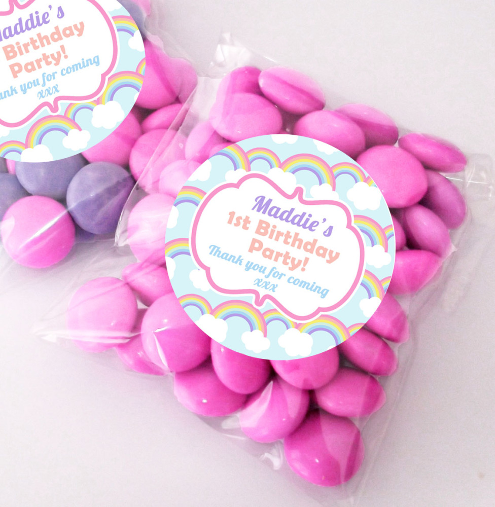 Pastel Rainbows Personalised BIRTHDAY PARTY sweet bag favours KITS x12