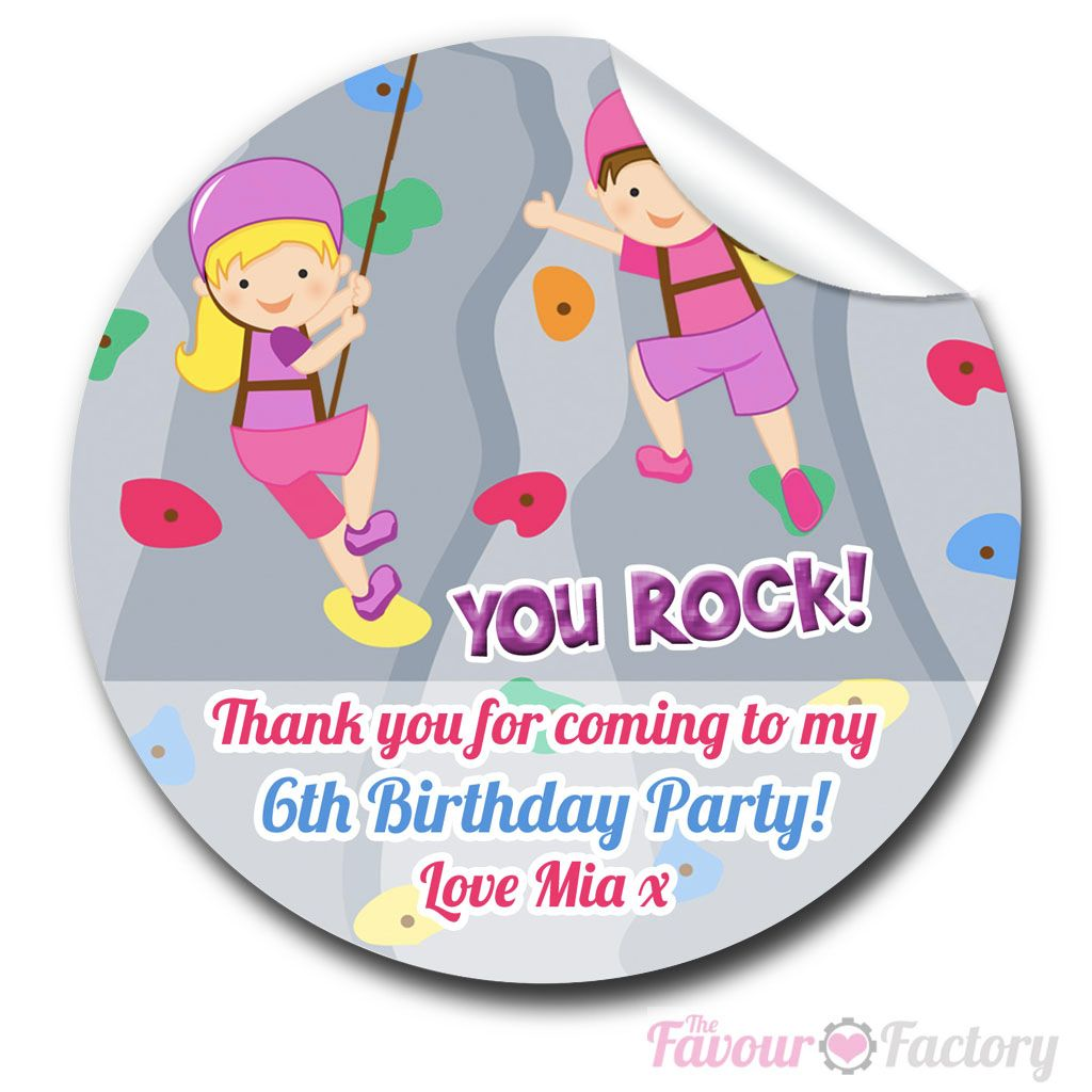 Rock climbing Personalised Birthday party bags stickers labels 1xA4 sheet