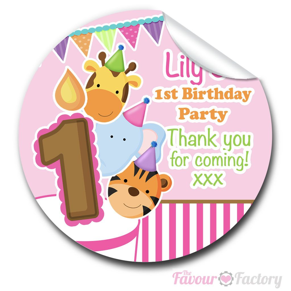 Kids Birthday Party Stickers Labels Animal Friends Girls