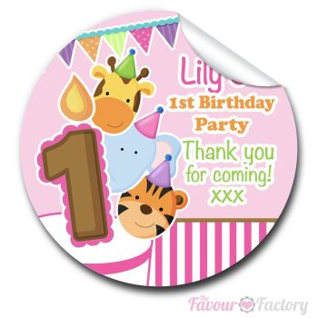 Animal Friends Girls Personalised Birthday party bags sweet cone stickers labels