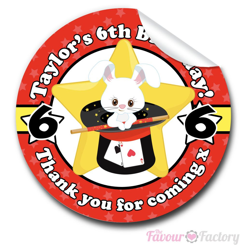 Magic Show Rabbit In Hat Birthday party personalised bags stickers 1x A4 sh