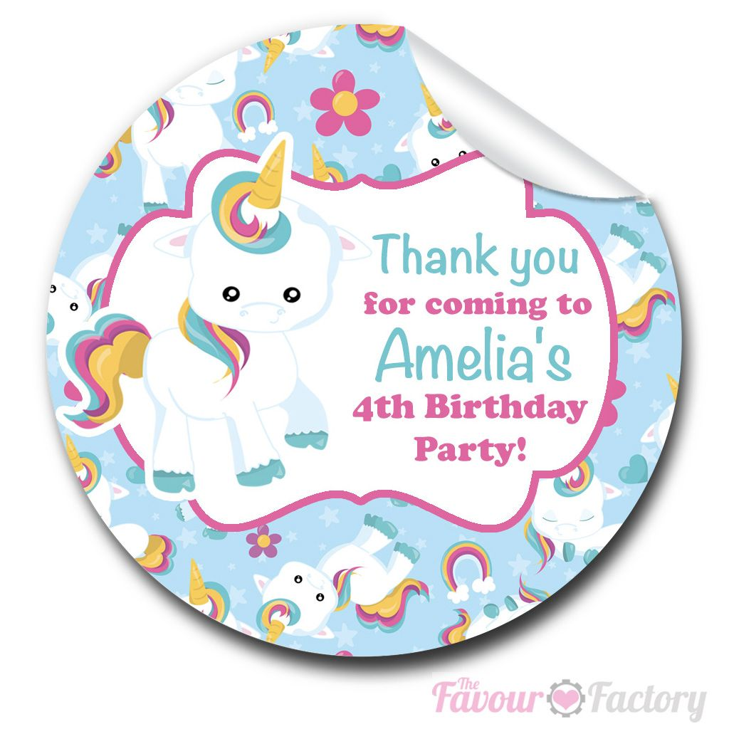 Baby Unicorn Personalised Party Bags Sweet Cones Stickers Labels 1xA4sheet