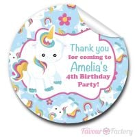 Kids Birthday Party Stickers Baby Unicorn