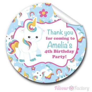 Baby Unicorn Personalised Birthday party bags sweet cone stickers labels