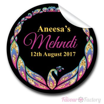 Mehndi Glitter Peacock Wedding Personalised Favour Stickers
