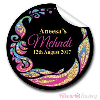Mehndi Glitter peacock Frame Wedding Celebrations Personalised Favour Stickers
